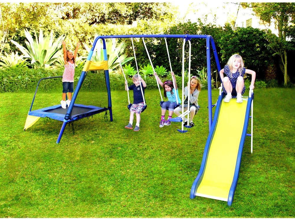 Picture of Skroutz Metal Swing Set with Slide and Trampoline under 500$