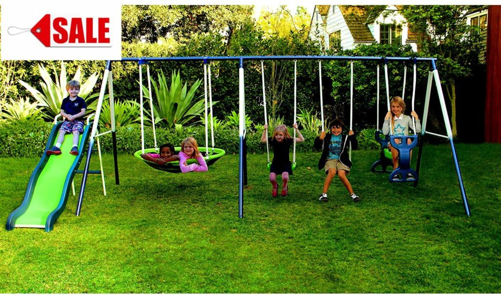 Image of The Skroutz Metal Swing Set with Slide under 500$