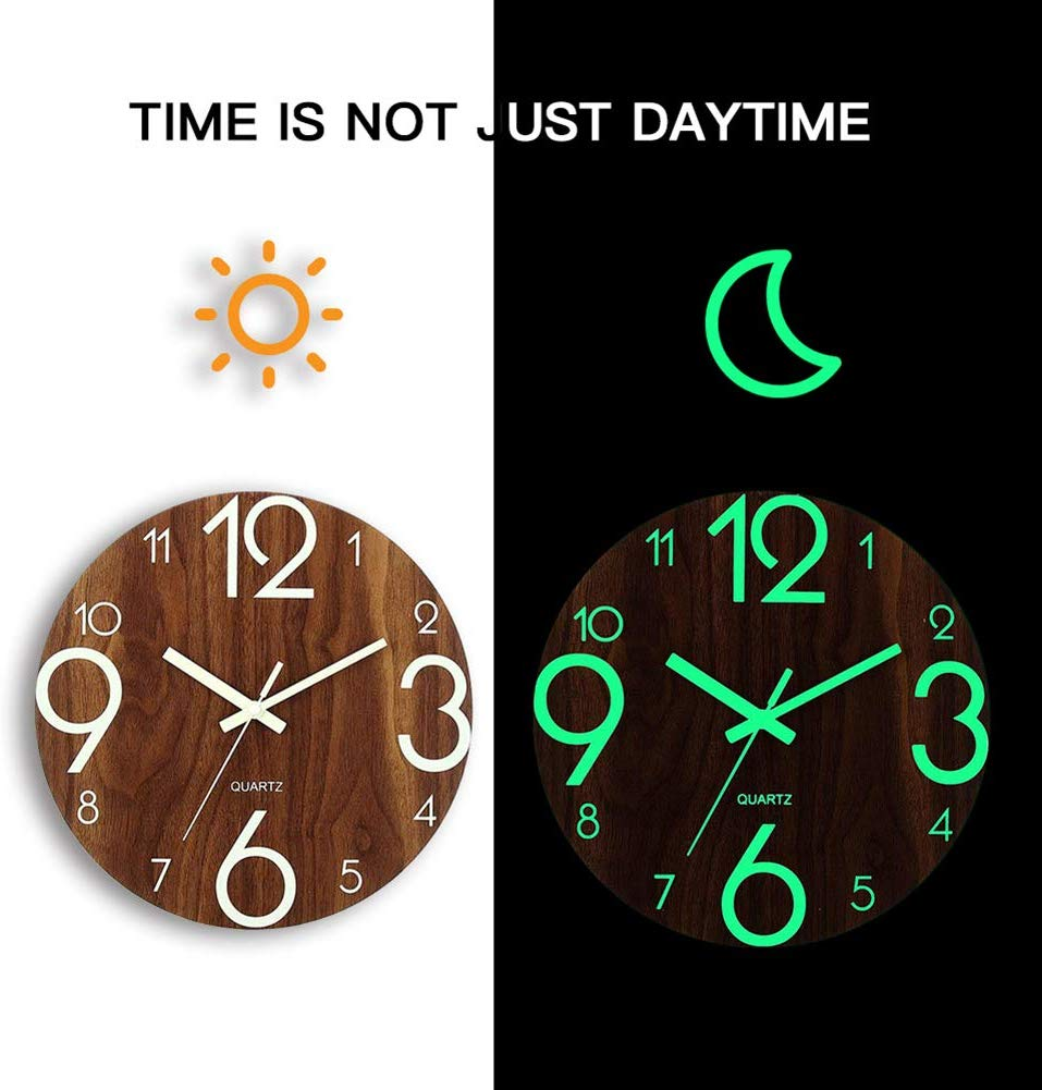 Image of Luminous Glowing Wooden Wall Clock by Framy