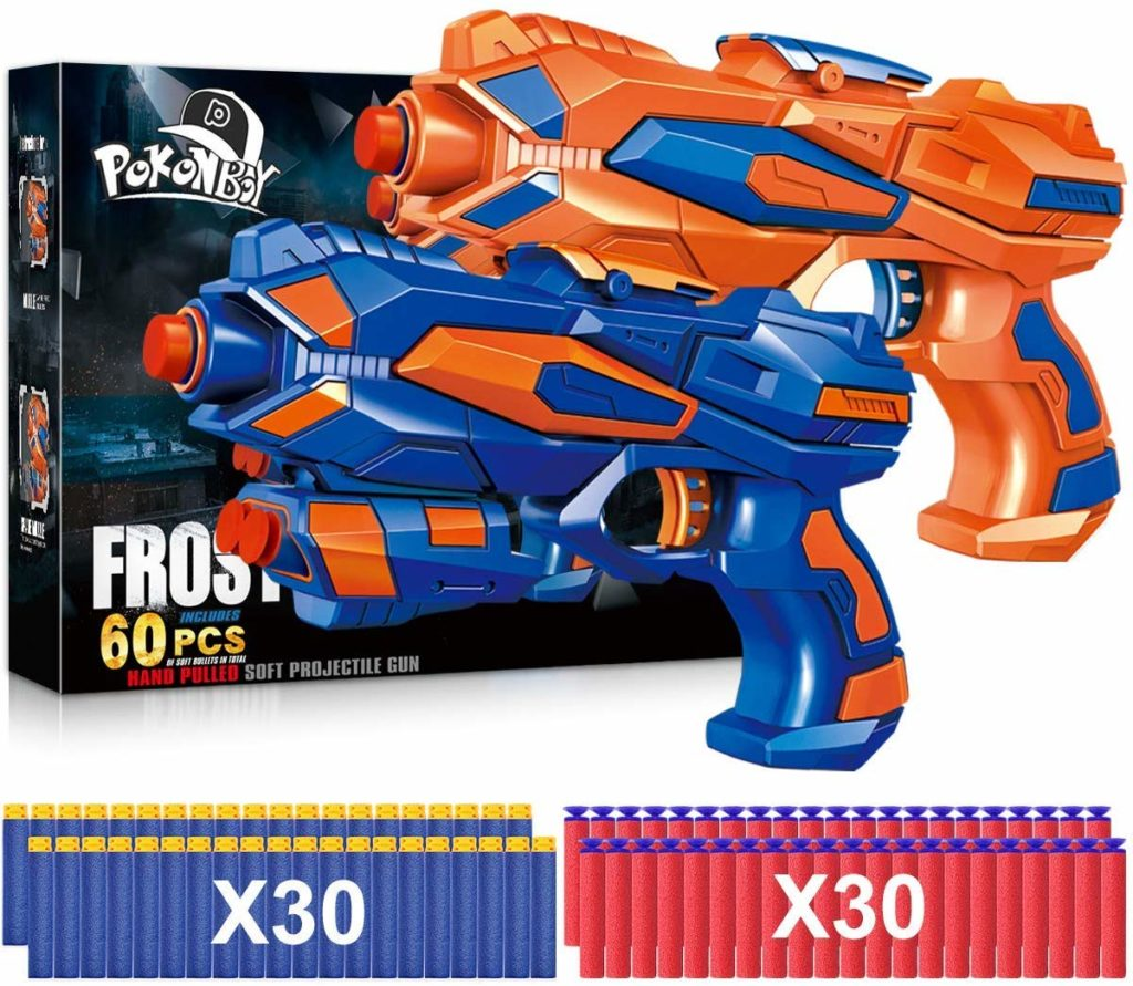 Picture of POKONBOY 2 Pack Blaster Nerf Guns, 60 Soft Foam Darts