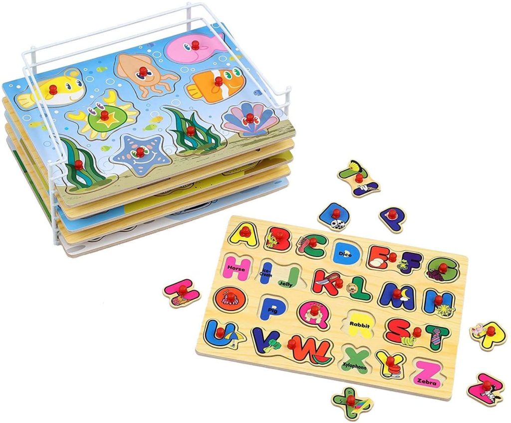 Image of Etna Wood Peg Puzzle set with wire storage rack