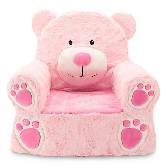 Picture Animal Adventure Pink Bear Children's Plush Chair
