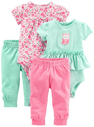 Image of Simple Joys by Carter's Baby Girls' 4-Piece Bodysuit, Pant, and Bibs Set