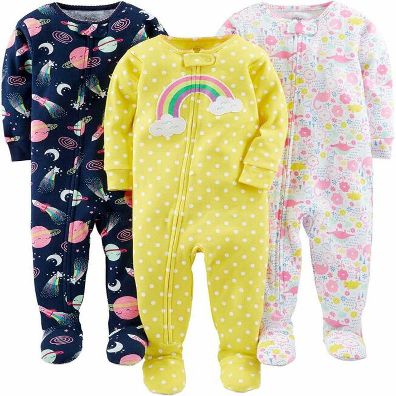 Image of Simple Joys by Carter's Baby and Toddler Girls' 3-Pack Snug-Fit Footed Cotton Pajamas