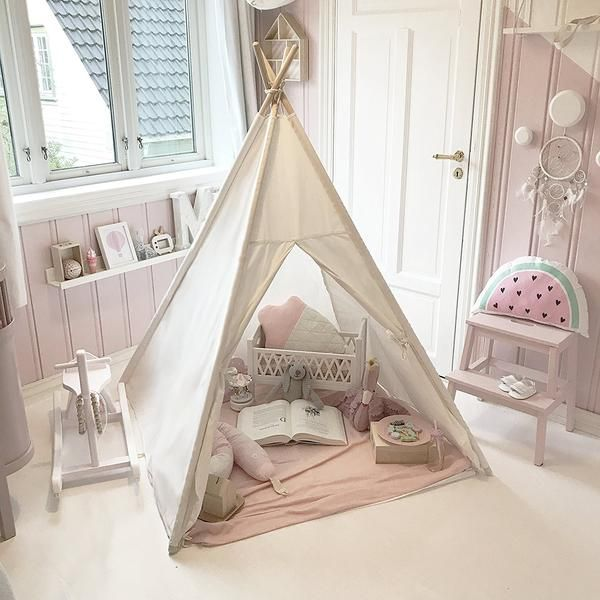 Photo of Kids Teepee Tent with Mat & Light String & Carry Case
