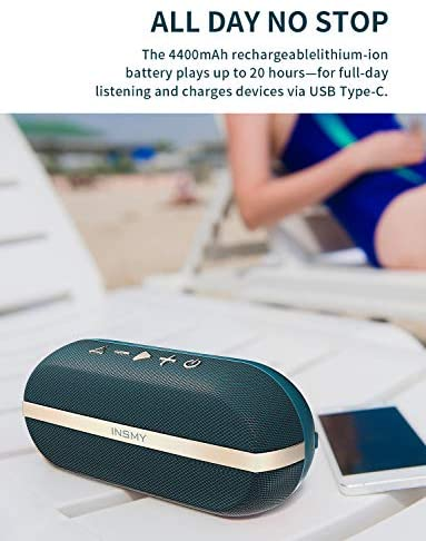 Picture of INSMY Portable Bluetooth Loud Stereo Sound Rich Bass Speakers