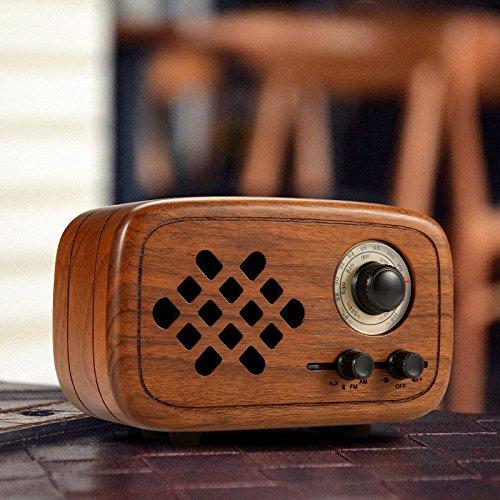 Photo of Rerii Wood Vintage Small Bluetooth Radio FM AM