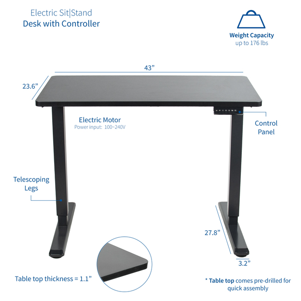 Picture of VIVO Electric 43 x 24 inch Standing desk, White Table Top