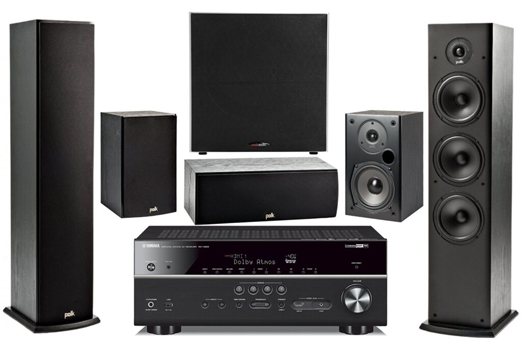 Image of Yamaha Surround Sound Home Theater System with Floor Standing Speakers