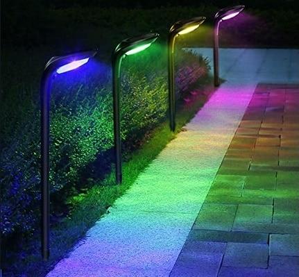 Picture of ROSHWEY 4 Pack Solar Landscape Lights 7 Colors 12 LED Beads
