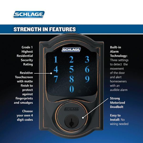Picture of Schlage Connect Camelot Touchscreen Deadbolt with Built-In Alarm 2021 Lock